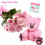 "Pink Theme - 20 Pink Roses Bunch, 8"" Pink Teddy and card"