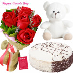 Tender Delight - 8 Red Roses Bunch, Teddy 6 inch, 1/2 Kg Blackforest Cake and card