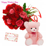 Red N Pink Gift - 20 Red & Pink Roses Bunch, Teddy 6 inch and card