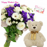 Flowers & Teddy - 4 White Gerberas & 4 Roses and 4 Orchids Bunch, Teddy 6 inch and card