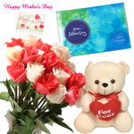 Rose Teddy Celebration - 15 White & Pink Roses in Bunch, Teddy 10 inch with Heart, Cadbury's Celebration 118 gms and card