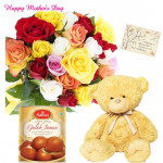 Mix Teddy Sweet - 14 Mix Roses Bunch, Teddy 6 inch, Gulab Jamun 500 gms and card