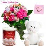 Pink White Combo - 10 Pink Flowers Bunch, White Teddy 6 inch, Rasgulla 500 gms and card