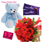 Red Teddy Milk - 15 Red Flowers Bunch, Teddy 6 inch, 2 Dairy Milk and card