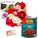 Mix Jamun - 12 Mix Roses Bunch, Gulab Jamun 500 gms and card