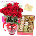 Mix N Vase - 12 Red Roses in a vase, Kaju Mix 500 Gms and card