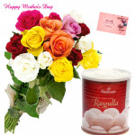 Mix Gulla - 10 Mix Roses Bunch, Rasgulla 500 gms and card