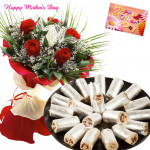 Red Rosy Roll - 15 Red Roses Bunch, Kaju Anjir Roll 250 gms and card