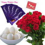 Sweet Chocolaty - 15 Red Roses Bunch, Rasgulla 500 gms, 5 Dairy Milk 14 gms and card