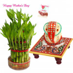 Bamboo with Ganesha - 3 Layer Lucky Bamboo Plant, Ganesh on Chowki and Card