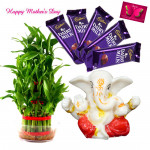 Ganesha Luck - 3 Layer Lucky Bamboo Plant, Ganesh Idol, 5 Dairy Milk 14 gms and Card