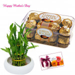 Ferrero with Bamboo - 2 Layer Lucky Bamboo Plant, Ferrero Rocher 16 pcs and Card