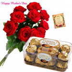 Forever Love - Ferrero Rocher 16 Pcs, 6 Artificial Red Rose and Card