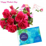 Smile For Mom - 10 Artificial Red Rose, Cadbury Celebration 118 gms and Card