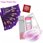 Beautiful Mom - Ponds Beauty Hamper, 5 Dairy Milk 14 gms each and Card