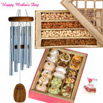 Melody For Mom - Wind Chimes, Kaju Mix 250 gms, Assorted Dryfruits 200 gms and Card