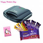 Cooking Delight - Prestige Fixed Grill Plates Sandwich Toaster 800 watts, Assorted Cadbury Hamper (2 Dairy Milks 14 gms each, 2 5 stars 25 gms each, 1 Fruit n Nut of 40 gms, 1 Perk chocolate) and Card