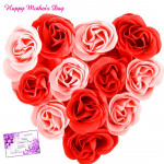 Red N Pink Heart - 20 Red & Pink Roses Heart Shape Arrangement and card