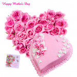 Pink Heart - 40 Pink Roses Heart Shaped, Heart Strawberry Cake 1 kg and card