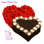 Red Choco Heart - 50 Red Roses Heart Shaped, Chocolate Heart Cake 1 kg and card