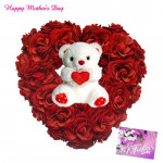 Heart Rose N Teddy - 25 Red Roses Heart Shaped Arrangement , Teddy 8 inch and card