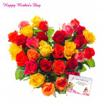 Multicolor Heart - 50 Multicolor Roses Heart Shape Arrangement and card
