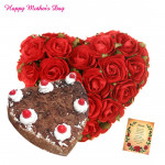 Red N Black Heart - 30 Red Roses Heart Shape, Black Forest Heart Cake 1 kg and card
