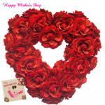 Rosy Heart - 75 Red Roses Heart Shape Arrangement and card