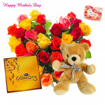 Hearty Celebration - Heart Shape Arrangement 50 Mix Roses, Cadbury Celebration 118 gms, Soft Toy 12 inch and card