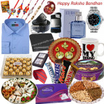 Bonanza of Wishes - 30 Items (Sweets, Chocolate, DryFruits, Formal Shirt, Belt, Wallet, CK Perfume, Tie, Hankies  & More - see product page for details)