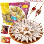 Sweets N Namkeen - Kaju Katli, 2 Haldiram Namkeen with 2 Rakhi and Roli-Chawal