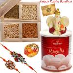 Rasgulla Love - Haldiram Rasgulla 500 gms, Assorted Dry Fruits in Box, Ganesh Idol with 2 Rakhi and Roli-Chawal
