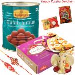 Loaded with Sweets - Haldiram Gulab Jamun 500 gms, Haldiram Soan Papdi, Ganesh Idol with 2 Rakhi and Roli-Chawal