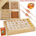 Deserve the Best - Kaju Anjir Roll, Assorted Dry Fruits in Box with 2 Rakhi and Roli-Chawal
