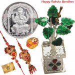 Precious Divine Combo - Silver ganesh coin 10 gms, Silver tulsi Kyara 15 gms with Bhaiya Bhabhi Rakhi Pair and Roli-Chawal