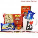 Sweets N Cookies - Haldiram Soan Papdi, I Love My Bro Mug, 2 Oreo Cookies with 2 Rakhi and Roli-Chawal