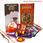 Rakhi Choco Blast - Choco Blast, 2 Kitkit, 2 Gems, 1 Kinder Joy with 2 Rakhi and Roli-Chawal