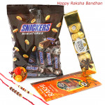 Rakhi Miniatures - Snicker Miniatures, Ferrero Rocher4 Pcs with 2 Rakhi and Roli-Chawal