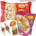 Haldiram's Rakhi - Haldiram Soan Papdi, Haldiram Mini Samosa with 2 Rakhi and Roli-Chawal