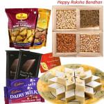 Stomach's Delight - Kaju Katli, Assorted Dry Fruits, 2 Haldiram Namkeen, 2 Bournville, 2 Fruit n Nuts (Rakhi & Tika NOT Included)