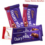Cadbury Treat - 2 Dairy Milk Chocolates (L) + 2 Cadbury Fruit & Nuts (Rakhi & Tika NOT Included)