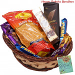 Sweet n Spicy Basket - Haldiram Namkeen, Ferrero Rocher 4 pcs, 2 Perk, 1 Bournville, 1 Twix, 1 Bounty, 1 Cadbury Dairy Milk Crackle, 1 5 Star, 2 Cadbury Dairy Milk Silk (Rakhi & Tika NOT Included)