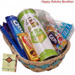 Sweet Gift Basket - Sugarfree Cookies, Oya Chocolate Wafer Stick, Pringles Wafers, Dairy Milk Chocolates Pack, Swiss Gold Coin Box, Handmade Chocolates, Truffles Toffee (Rakhi & Tika NOT Included)