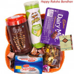 Sweet Gift Basket - Sugarfree Cookies, Oya Chocolate Wafer Stick, Pringles Wafers, Dairy Milk Chocolates Pack, Swiss Gold Coin Box, Handmade Chocolates, Truffles Toffee (Rakhi & Tika NOT Included)
