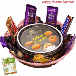 Royal Gift Basket - Danish Butter Cookies, 1 5 Star, 1 Mars, 1 Twix, 1 Cadbury Dairy Milk Crackle, 3 Cadbury Dairy Milk Silk, 1 Snickers (Rakhi & Tika NOT Included)