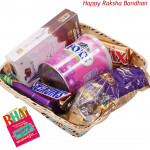 Chocolates Toffee Basket - 1 Pack of Chocolairs, 1 Cadbury Dairy Milk Silk, 1 Snickers, 1 Twix, 1 Pack of Choco Blast, Fox Crystal Clears Tin (Rakhi & Tika NOT Included)