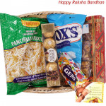 All in One Basket - Haldiram Namkeen, 1 Gems, Dryfruit Chikki Box, Fox Crystal Clear, Ferrero Rocher 4 pcs (Rakhi & Tika NOT Included)