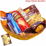 Adorable Gift Basket - Haldiram Namkeen, Oreo Cookies, 1 Snickers, 1 Twix, Pringles Wafers, Ferrero Rocher 4 pcs, Fox Crystal Clear (Rakhi & Tika NOT Included)
