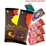 Delicious Chocolates - Cadbury Bournville Rich Cocoa, Cadbury Bournville Raisin n Nut, 3 Kitkat, Gems (Rakhi & Tika NOT Included)