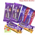 Chocolate Bars - 2 Dairy Milk Fruit & Nut, 2 Dairy Milk Crackle, 2 Dairy Milk Chocolate (L) (Rakhi & Tika NOT Included)